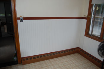 Classic Kitchen photo of a wall after refacing in white beedsboard wanes coating