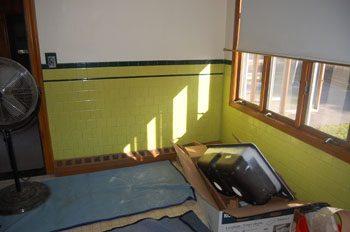 Classic Kitchen photo of a wall before applying Wanes coating.